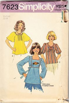 Misses' pullover tops and tunic vintage 70s, 1976 sewing pattern - Simplicity 7623. Pattern pieces for applique also included. Tunic top V.1 has front inset trimmed with optional embroidery and appliq