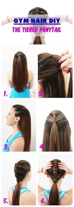Slicked back bangs can also double as the base of a tiered ponytail.