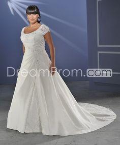 Glorious A-line/Princess Short-Sleeve Floor-length Chapel Appliques Plus Size Wedding Dresses