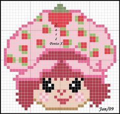 Strawberry Shortcake perler bead pattern... Could be used for Rainbow Loom