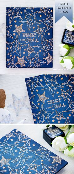Create a stunning one layer card using Simon Says Stamp Seeing Stars stamp set from August 2016 Card Kit and gold embossing powder. For details, visit http://www.yanasmakula.com/?p=54550
