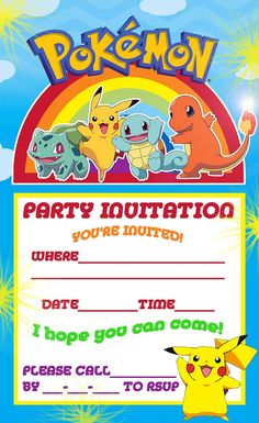 POKEMON COLORING PAGES: POKEMON PIKACHU PARTY INVITE