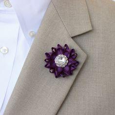Mens Lapel Flower Pin Custom Lapel Pin Purple by PetalPerceptions