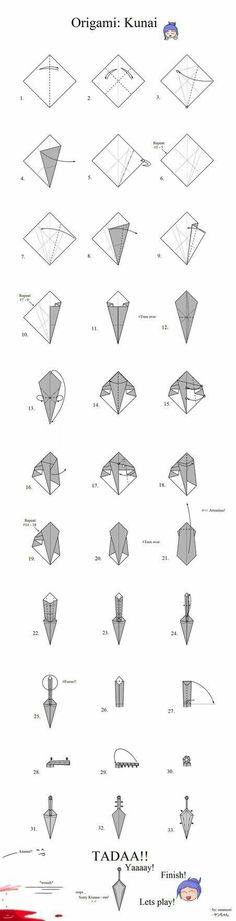 How to make an origami kunai, steps, text; Anime