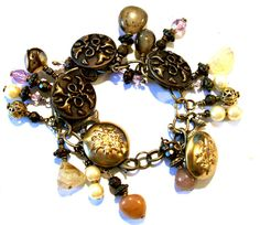 Vintage Button Bracelet Repurposed Vintage by VisionsOfOlde