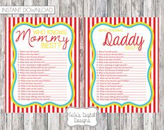 Items similar to Circus Themed Baby Shower Game Who knows Mommy Daddy best, Circus Shower Games, Circus Shower, Baby Shower Games, Printable Shower Game on Etsy Fun Baby Shower Games, Baby Shower Themes, Baby Boy Shower, Shower Ideas, Circus Baby, Circus Theme, Carnival Baby Showers, Peanut Baby Shower, Carnival Themed Party