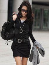 Elegant Black Elastic Woven Satin Single Breasted Women's Dress