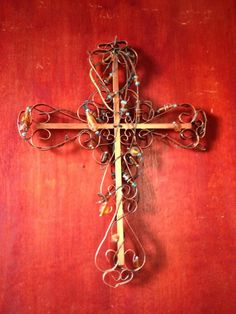 Copper cross with glass beads