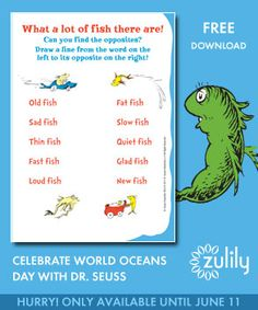 Click through for fun and free activity workbooks from #DrSeuss and #zulily! to Celebrate World Oceans Day!