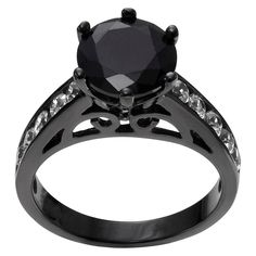 1 3/5 CT. T.W. Round-Cut CZ Prong Set Engagement Ring in Sterling Silver - Black, 5, Women's