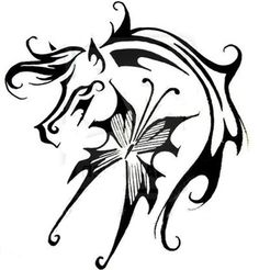 Horse with Butterfly Tattoo