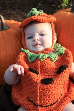 Baby Pumpkin Costume Crochet Pattern pdf 474 by SandysCapeCodOrig, $5.95