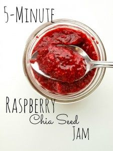 5-minute raspberry chia jam. 3 simple ingredients and 5 minutes is all you need for this healthy, low-sugar jam.