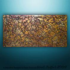 Abstract Original Modern Textured Painting 3D Art Metallic