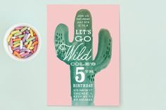 Wild Cactus Children's Birthday Party Invitations by Baumbirdy at minted.com