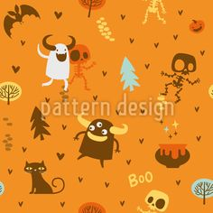 Skeleton and Monster Friends Vector Pattern Halloween Vector, Halloween Themes, Vector Pattern, Pattern Design, Creepy, Scary, Cute Skeleton, Surface Design, Horror