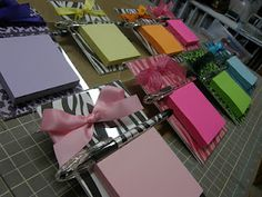 Post it note holders made from acrylic frames.  So clever and cute.  Would make great gifts too!