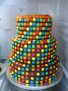 3 tier. Chocolate. smarties cake