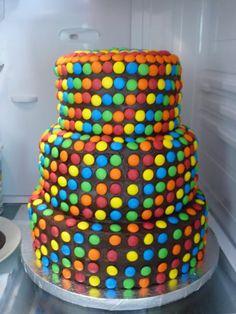 3 tier. Chocolate. smarties cake