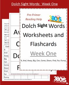 Dolch Site Words Week 1 Dolch Sight Words Worksheets:  Week One from @3 Boys and a Dog