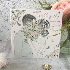On Your Wedding Day to a Very Special Couple - Handfinished Wedding Card with Crystals Romantic Moments, Stoke On Trent, On Your Wedding Day, Just Love, Wedding Cards, Beautiful Flowers, Embellishments, Envelope, Sparkle