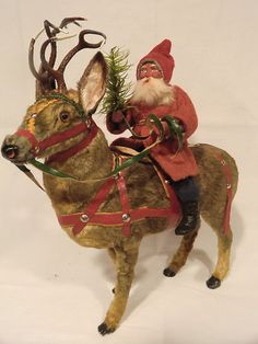 Large Superb German Santa Riding Fur Covered Majestic Reindeer | eBay