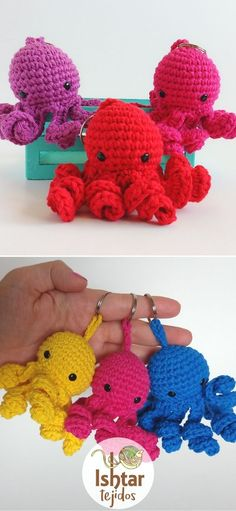 Sweet Crochet Amigurumi Ideas. These adorable little sea creatures will make the perfect gift for your friends. You can easily make them with yarn scraps, so be sure to use any leftovers. What's more, this pattern is really easy to crochet. In other words, make a bunch of them in different colors!  #freecrochetpattern #amigurumi #octopus