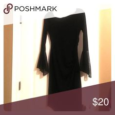 Black dress Long sleeve black dress, flowing sleeves, gathered at the side, hits right above the knees, I am 5'6 My Michelle Dresses Midi