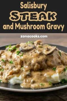 This Salisbury Steak with Mushroom Gravy recipe is quick and delicious! The beef is savory and the creamy mushroom gravy is perfect served over mashed potatoes. This recipe serves 2 people, is cooked in one pan, and ready in just 30 minutes. Beef Steak Recipes, Beef Recipes For Dinner, Ground Beef Recipes, Meat Recipes, Cooking Recipes, Cooking Gadgets, Cooking Videos, Cooking Utensils, Salisbury Steak With Mushroom Gravy Recipe