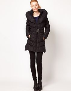 Vero Moda Padded Shawl Collar Long Belted Coat