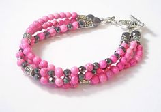 Magnetic Hematite Beaded Bracelet w/ Pink Magnesite by BeadsNStyle, $28.45