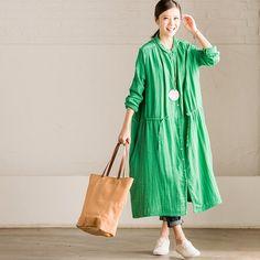 Blue Long Cotton Linen Dress Blouse Women Clothes