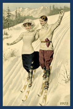 z- Couple Skiing 1925 Vintage Ski, Vintage Winter, Vintage Ephemera, Vintage Holiday, Vintage Postcards, Vintage Images, Ski Posters, Sports Posters, Sports Quilts