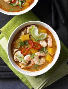 Low fat and full of flavour, this Thai soup promises to nourish as well as deliver a hot chilli kick. Prawns and sweet potato are teamed with lemongrass, chilli and limes with a dash of distinctive tom yam paste to create a midweek meal to serve two.
