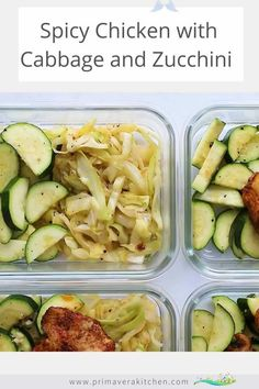 Spicy Chicken with Sauteed Cabbage and Zucchini Bowls Spicy chicken and cabbage with zucchini is a meal prep recipe that takes just 15 minutes to prepare! This chicken and vegetables dinner is a quick and easy solution for a busy weeknight. #chickenrecipemealprep #cabbageandchicken #zucchinirecipe<br> Easy Healthy Meal Prep, Dinner Recipes Easy Quick, Healthy Eating Recipes, Healthy Dishes, Clean Eating Recipes, Quick Easy Meals, Meal Prep Recipes, High Protein Meal Prep, Clean Eating Menu