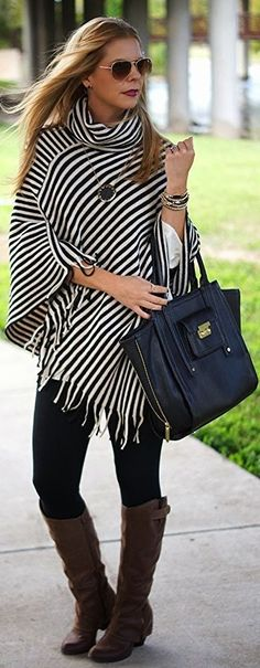 Adorable striped poncho to dress up or dress down! Find it it Tickled Teal, along with so many other cute clothes Look Fashion, Fashion Outfits, Womens Fashion, Fall Fashion, Fall Winter Outfits, Autumn Winter Fashion, Poncho Design, Poncho Outfit, Poncho Sweater