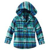 Plaid flannel shirt gets topped with a hood for a handsome, outdoorsy look. Wear as a jacket or buttoned up with his favorite denim. -$15.99