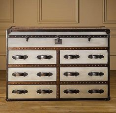Suzie: Storage Furniture - Mayfair Steamer Double Chest Brushed Steel | Trunks | Restoration Hardware - trunk