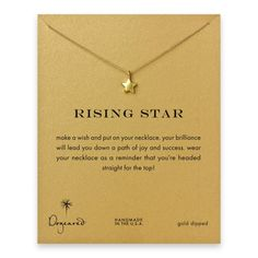 rising star reminder necklace with gold dipped full star $58