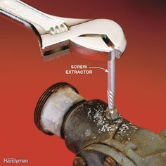 A screw extractor could save your day. It will grab just about any threaded fastener and remove it—even if the head has snapped off. It usually comes with a hardened drill bit to drill a hole in the center of your stubborn screw or bolt. Then you turn the extractor counterclockwise into the hole. Because of its tapered shape and left-hand thread, the extractor will jam in the hole and then begin to turn out the screw. You can find extractors at hardware stores.