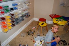 A cool Lego room with AkroBins from The Container Store