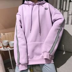2018 Spring Autumn Korean Women'S Fashion Long Pullover Plus Velvet Checkered Embroidery Letters Hoodies Top Plaid Sweatshirt Lila Outfits, Purple Outfits, Korean Outfits, Cute Outfits, Aesthetic Hoodie, Aesthetic Clothes, Ropa Color Pastel, Vetement Fashion, Korean Fashion Trends