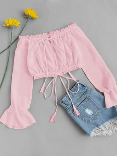 Shop Off Shoulder Drawstring Split Blouse online. ROMWE offers Off Shoulder Drawstring Split Blouse & more to fit your fashionable needs. Teen Fashion Outfits, Mode Outfits, Cute Fashion, Outfits For Teens, Girl Outfits, Feminine Fashion, Color Fashion, Fashion Styles, Style Fashion