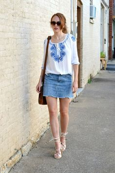Paper denim and cloth mini skirt, peasant top - affordable fashion blog and style