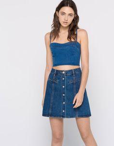 Pull&Bear - mujer - ropa - faldas - falda vaquera botones delanteros - azul - 09399304-I2016