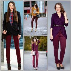 С чем носить бордовые брюки?