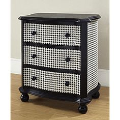 @Overstock - This hand-painted chest has a black and white houndstooth finish. Constructed of hardwood and MDF, this accent chest will be a durable and stylish addition to your home decor.http://www.overstock.com/Home-Garden/Hand-painted-Black-and-White-Houndstooth-Accent-Chest/4721867/product.html?CID=214117 $307.99