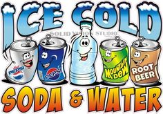 "20"" Ice Cold Soda Water Pepsi Root-Beer Mt. Dew Concession Food Truck Sign Decal #SolidVisionStudio"