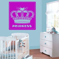 Wall decal decor decals princess crown nursery inscription letter cartoon cheerful girl story gift Wall Stickers Murals, Wall Decal Sticker, Painting Quotes, Future Baby, Wall Decor, Nursery, Hand Painted, Crown, Lettering