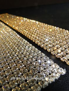 Swarovski rhinestone banding available in silver or gold, and in many different widths. Wedding Cake Fresh Flowers, Elegant Wedding Cakes, Elegant Cakes, Diy Wedding, Wedding Hacks, Wedding Ideas, Hanging Beads, Hanging Crystals, Wedding Ceiling Decorations